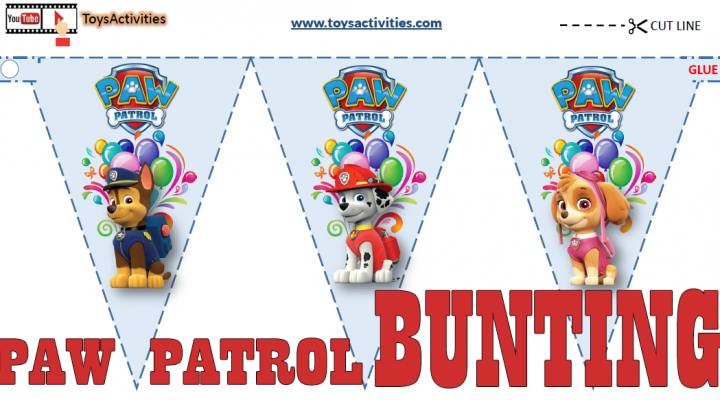 PAW Patrol Party Supplies, PAW Patrol Party Flags & Bunting, Paw Patrol Birthday Party Flags ...