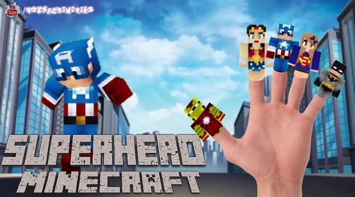 Superhero Minecraft Finger Family Song Ironman Captain America Supergirl Batman